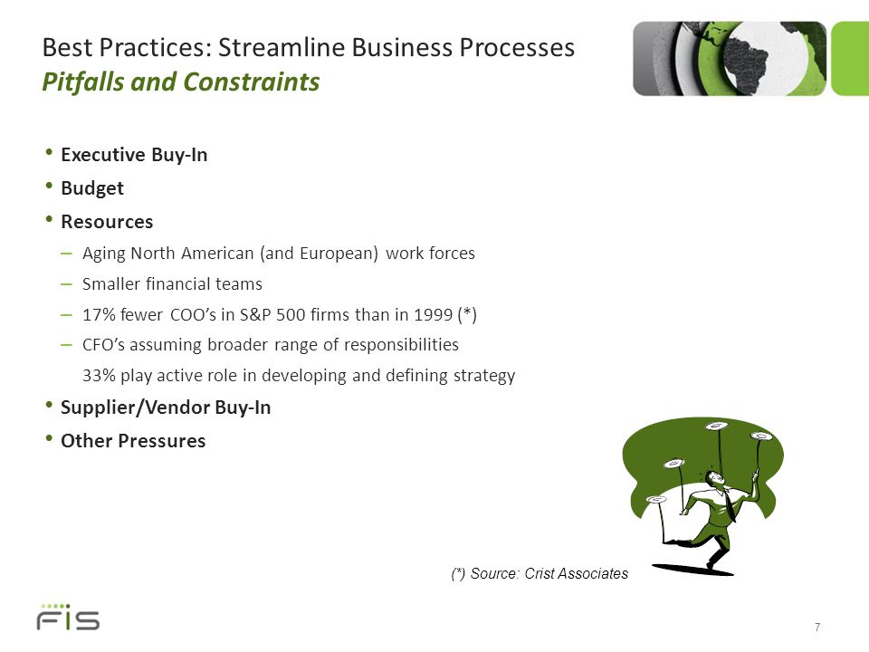 Best Practices: Streamline Business Processes Pitfalls and Constraints Executive Buy-In Budget Resources – Aging North American (and European) work forces – Smaller financial teams – 17% fewer COO's in S&P 500 firms than in 1999 (*) – CFO's assuming broader range of responsibilities 33% play active role in developing and defining strategy Supplier/Vendor Buy-In Other Pressures 7 (*) Source: Crist Associates
