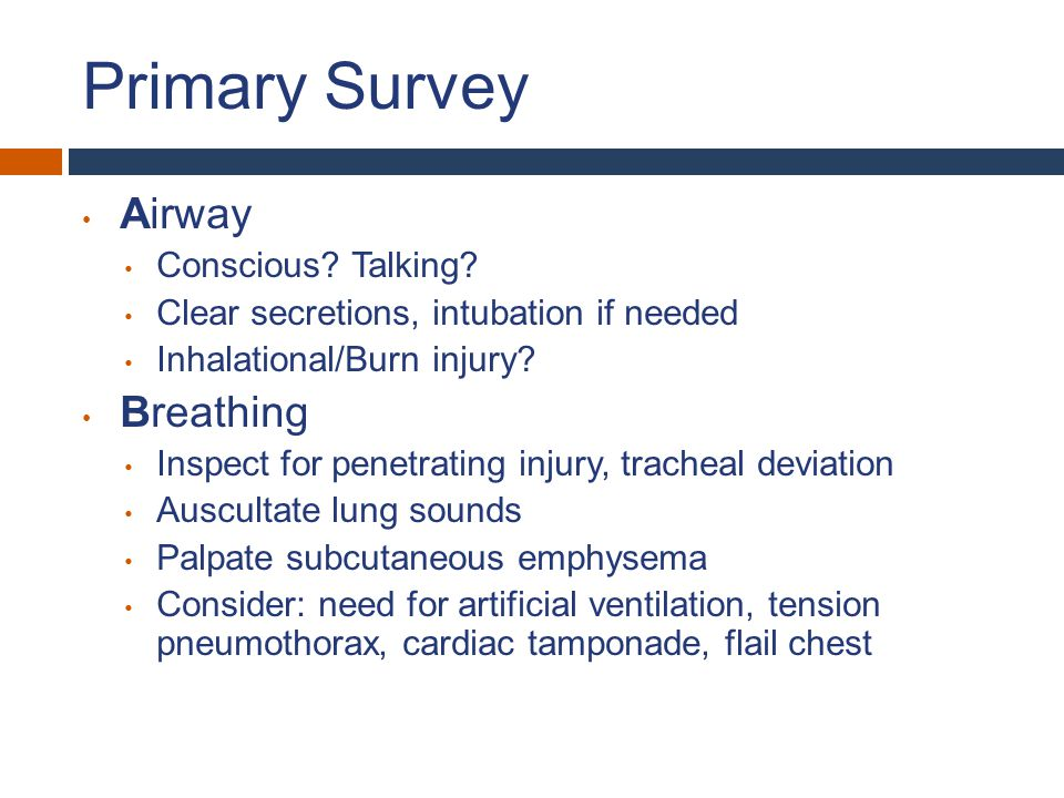 Primary Survey Airway Conscious? Talking? Clear secretions, intubation if needed Inhalational/Burn injury? Breathing Inspect for penetrating injury, t