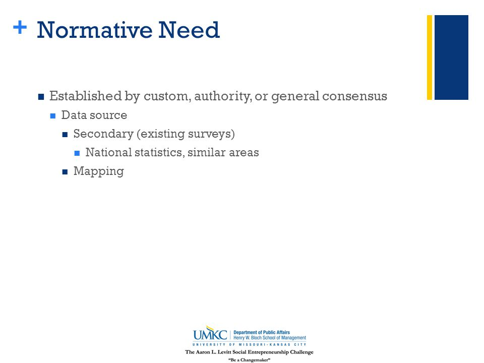 + Normative Need Established by custom, authority, or general consensus Data source Secondary (existing surveys) National statistics, similar areas Mapping