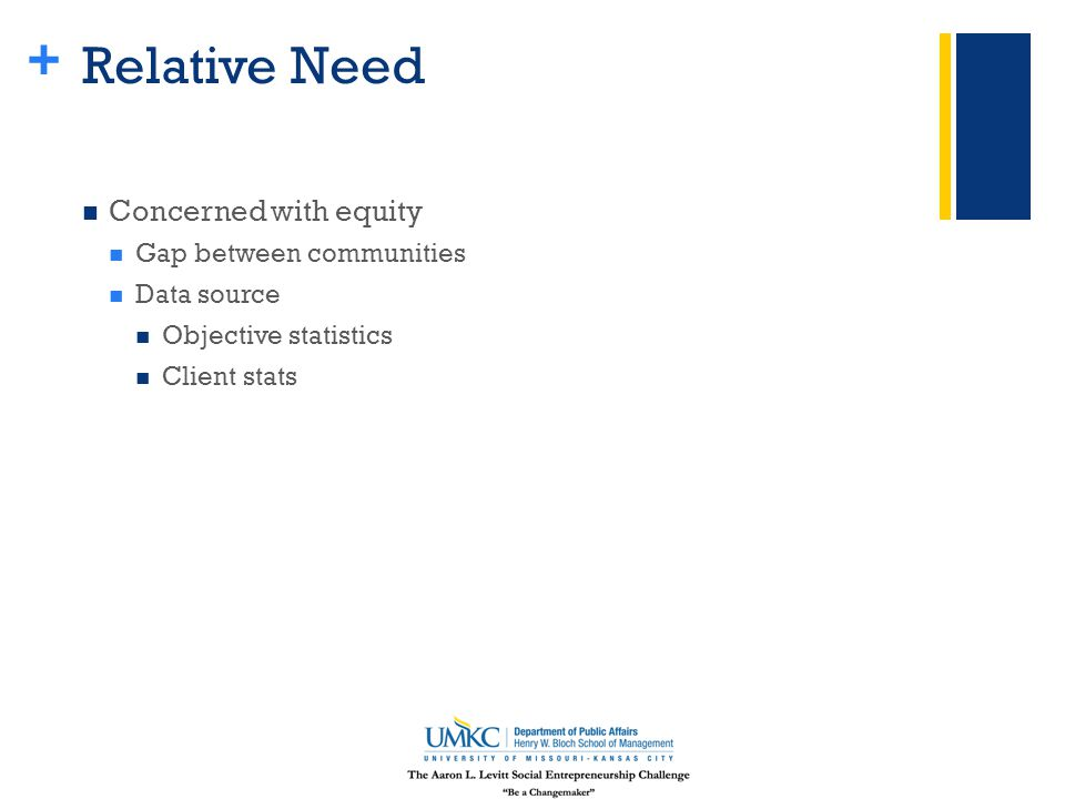 + Relative Need Concerned with equity Gap between communities Data source Objective statistics Client stats