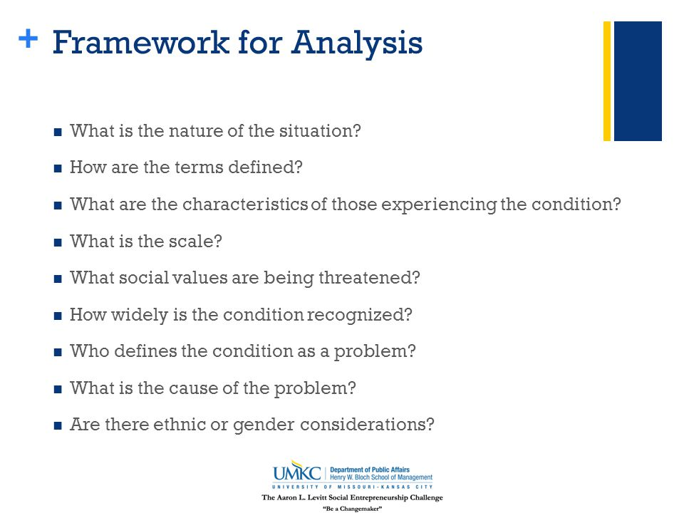 + Framework for Analysis What is the nature of the situation? How are the terms defined? What are the characteristics of those experiencing the condit