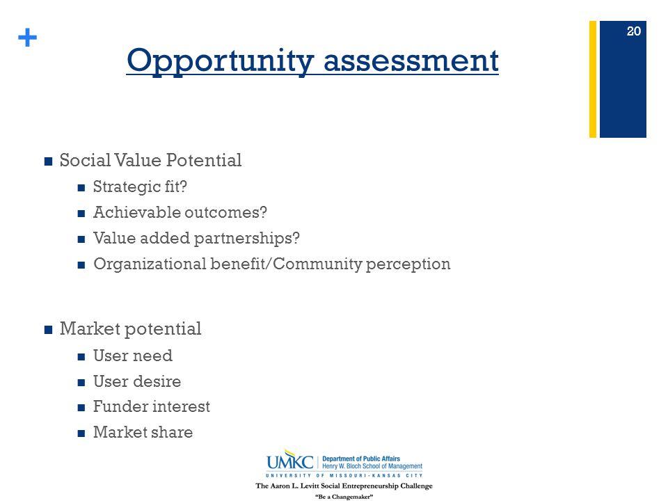 + Opportunity assessment Social Value Potential Strategic fit.