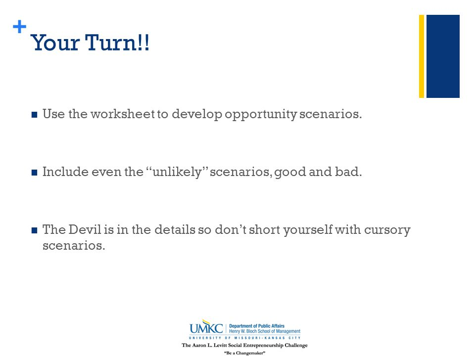 + Your Turn!. Use the worksheet to develop opportunity scenarios.