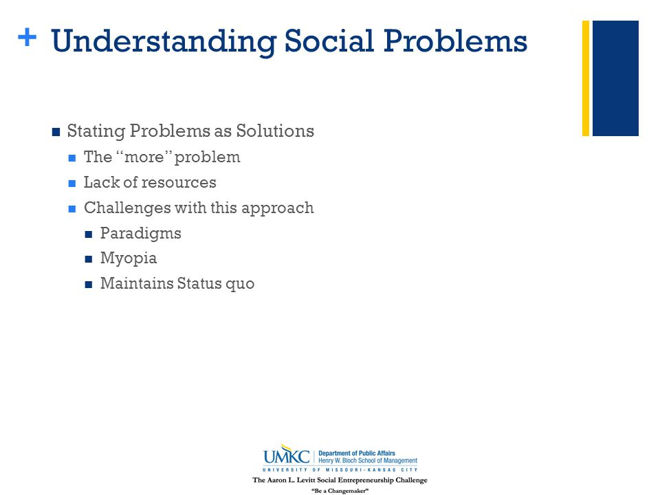 + Understanding Social Problems Stating Problems as Solutions The more problem Lack of resources Challenges with this approach Paradigms Myopia Maintains Status quo