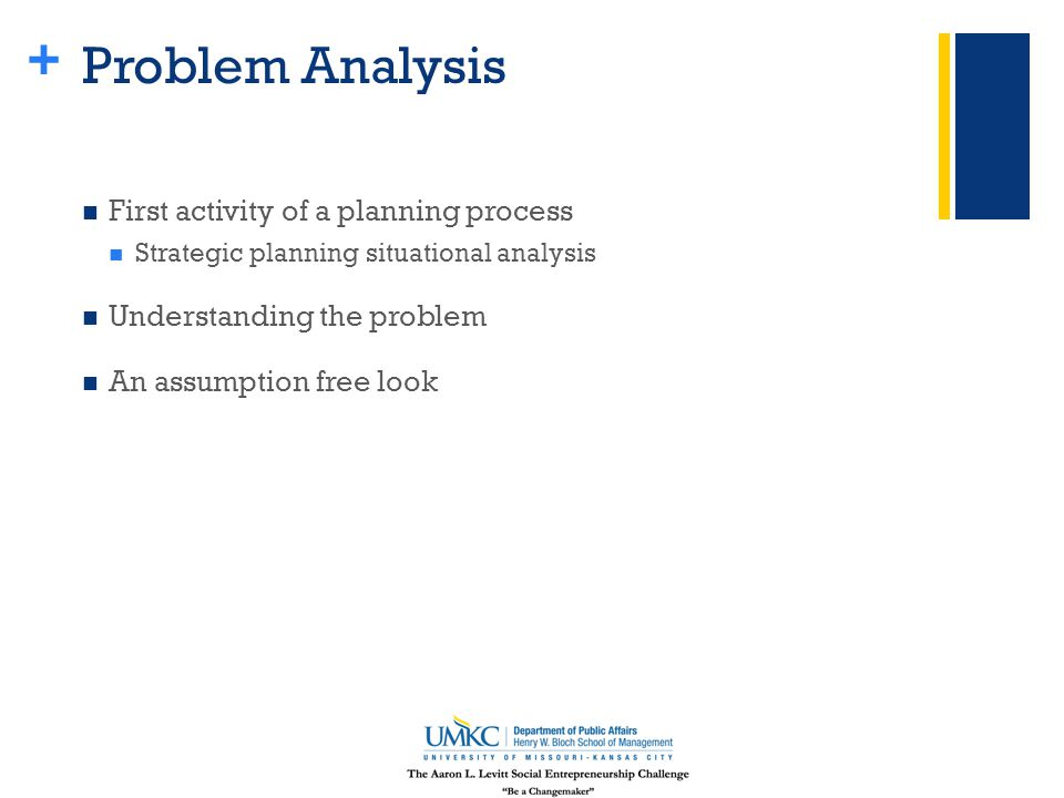 + Problem Analysis First activity of a planning process Strategic planning situational analysis Understanding the problem An assumption free look
