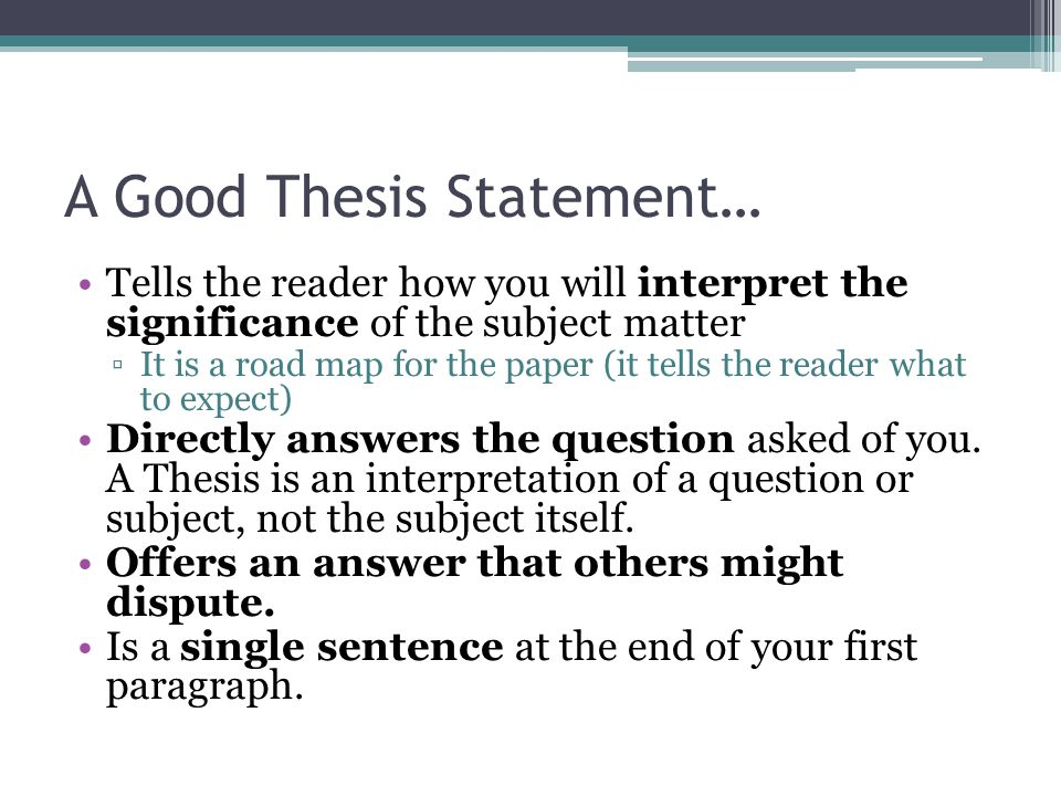 Writing Your Thesis Statement Construct your preliminary thesis statement on a sheet of paper.