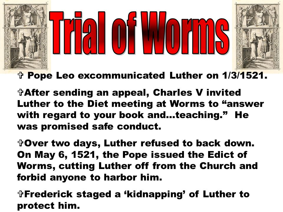  A debate was proposed between Luther and a professor named John Eck. Over 18 days & 4 sessions, the two argued free will, indulgences, and the role