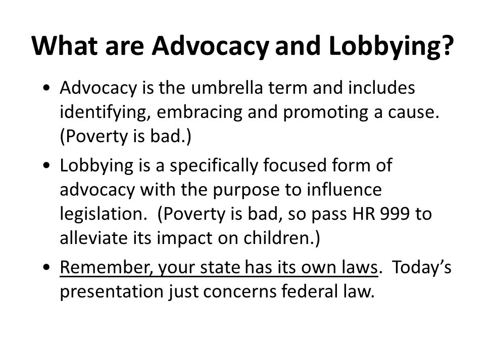 What are Advocacy and Lobbying.