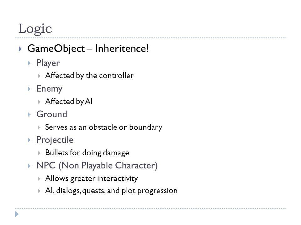Logic  GameObject – Inheritence.