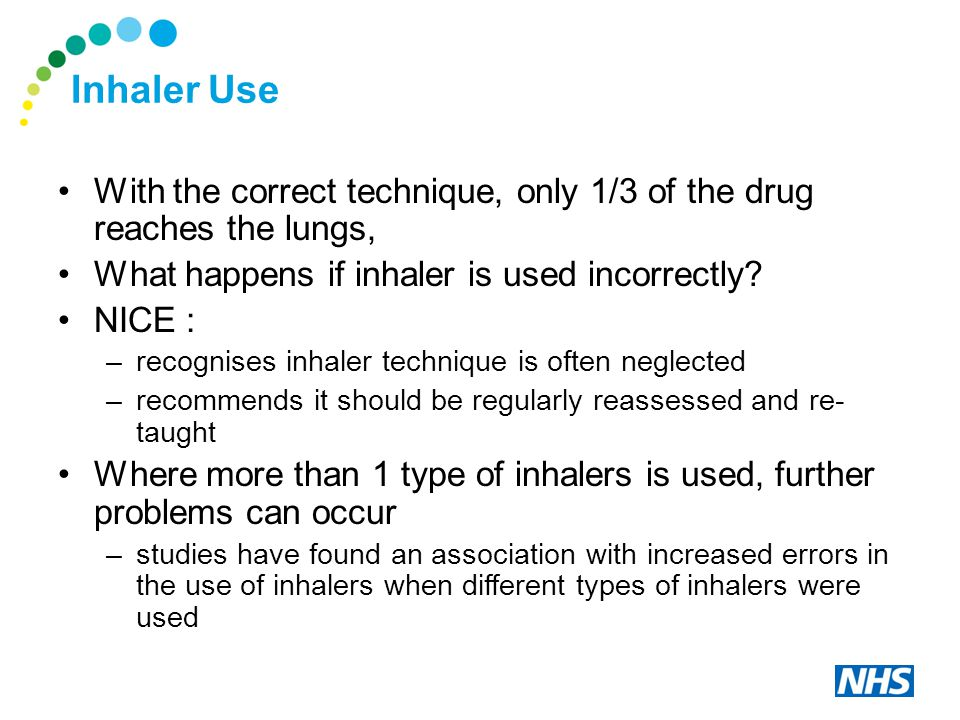 Inhaler Use With the correct technique, only 1/3 of the drug reaches the lungs, What happens if inhaler is used incorrectly.