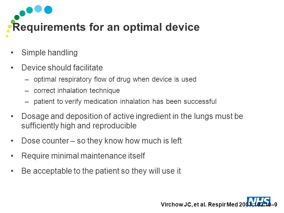 Requirements for an optimal device Simple handling Device should facilitate –optimal respiratory flow of drug when device is used –correct inhalation technique –patient to verify medication inhalation has been successful Dosage and deposition of active ingredient in the lungs must be sufficiently high and reproducible Dose counter – so they know how much is left Require minimal maintenance itself Be acceptable to the patient so they will use it Virchow JC, et al.