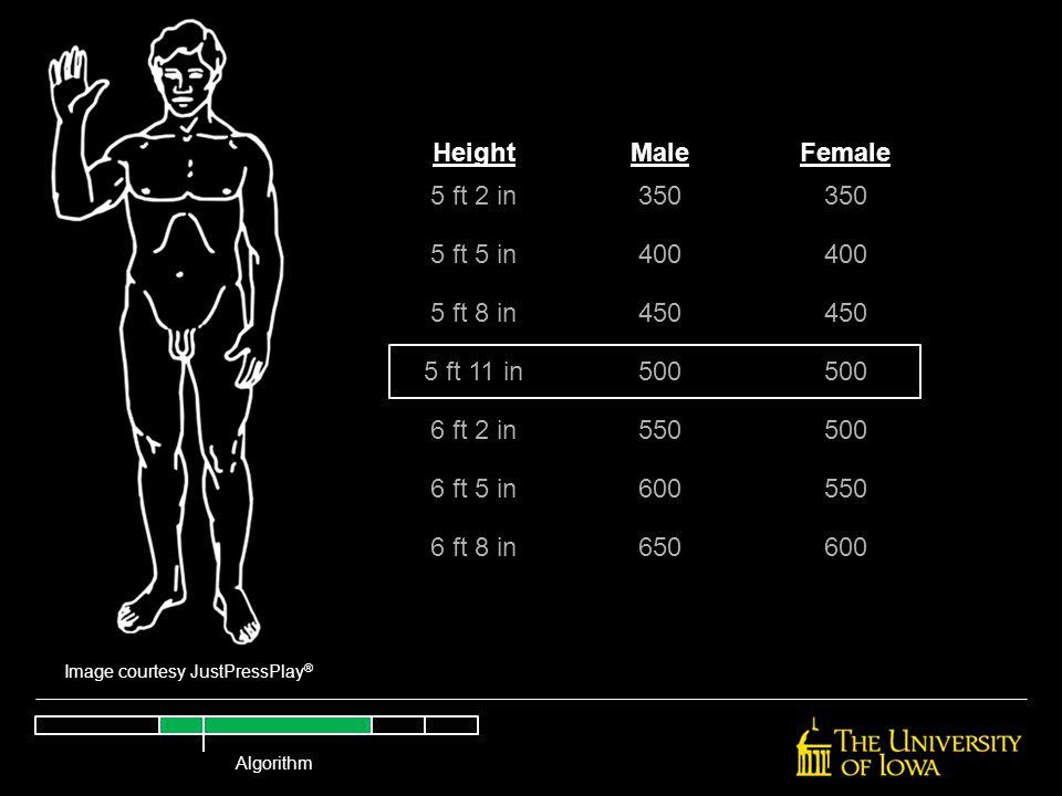 Image courtesy JustPressPlay ® HeightMaleFemale 5 ft 2 in350 5 ft 5 in400 5 ft 8 in450 5 ft 11 in500 6 ft 2 in550500 6 ft 5 in600550 6 ft 8 in650600 A