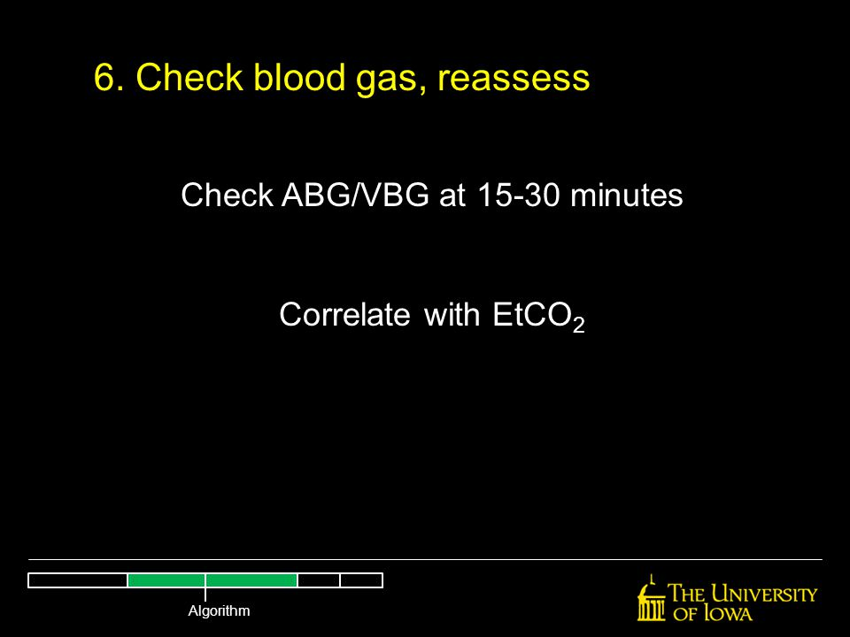 6. Check blood gas, reassess Check ABG/VBG at 15-30 minutes Correlate with EtCO 2 Algorithm