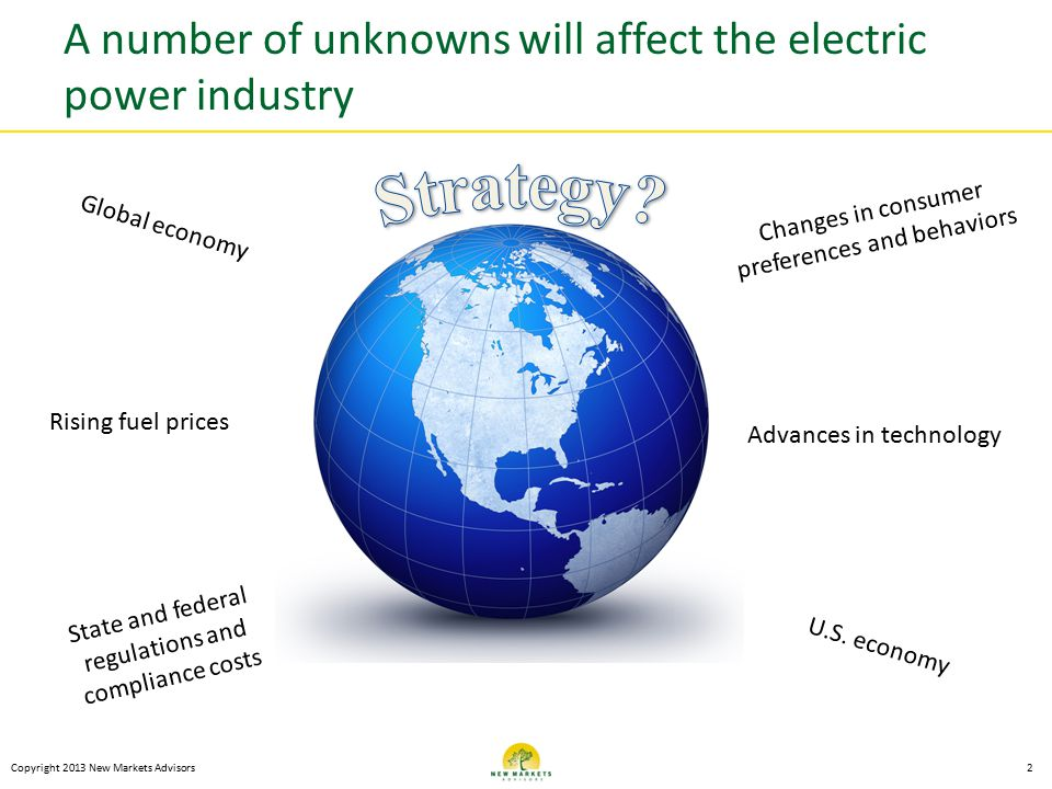 A number of unknowns will affect the electric power industry Copyright 2013 New Markets Advisors2 Changes in consumer preferences and behaviors Advances in technology Rising fuel prices State and federal regulations and compliance costs U.S.