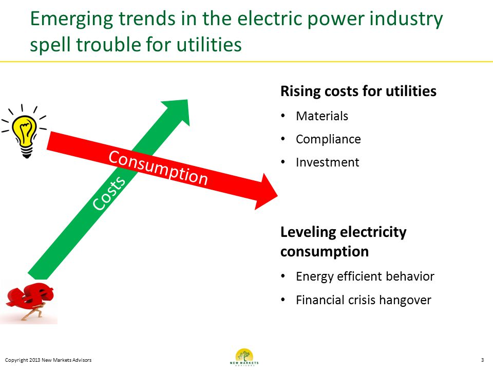 Emerging trends in the electric power industry spell trouble for utilities Copyright 2013 New Markets Advisors3 Costs Consumption Rising costs for utilities Materials Compliance Investment Leveling electricity consumption Energy efficient behavior Financial crisis hangover