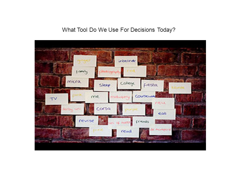 What Tool Do We Use For Decisions Today?