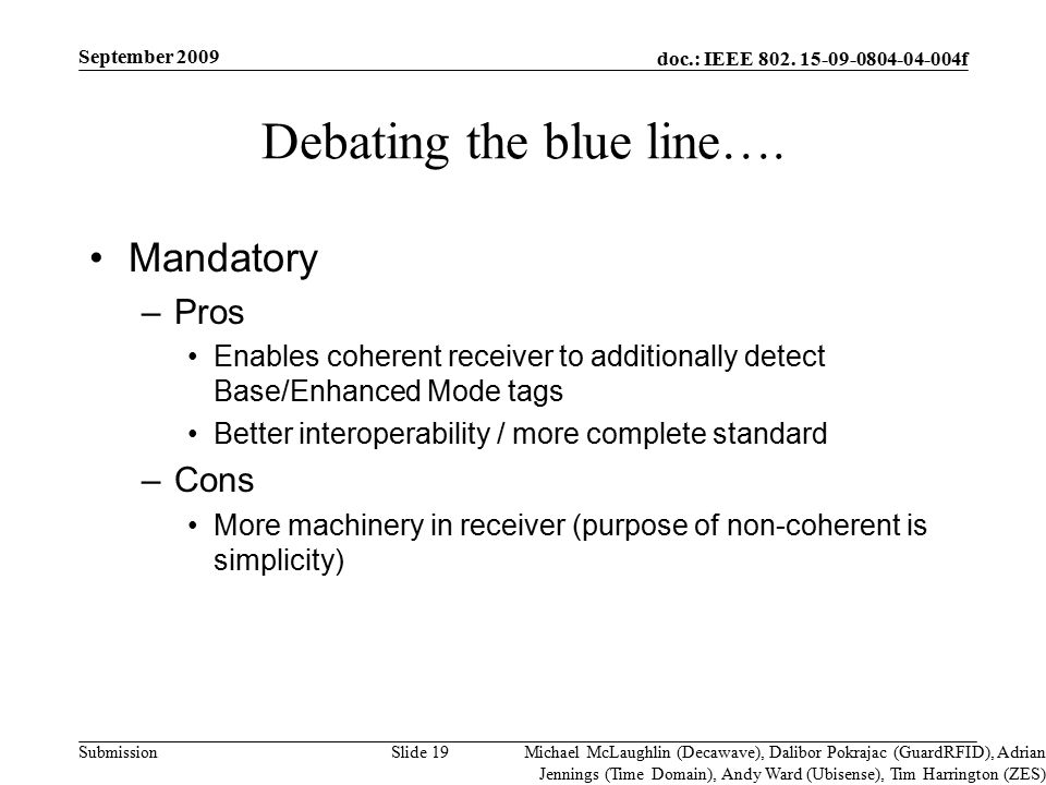 doc.: IEEE 802. 15-09-0804-04-004f Submission Debating the blue line…. Mandatory –Pros Enables coherent receiver to additionally detect Base/Enhanced