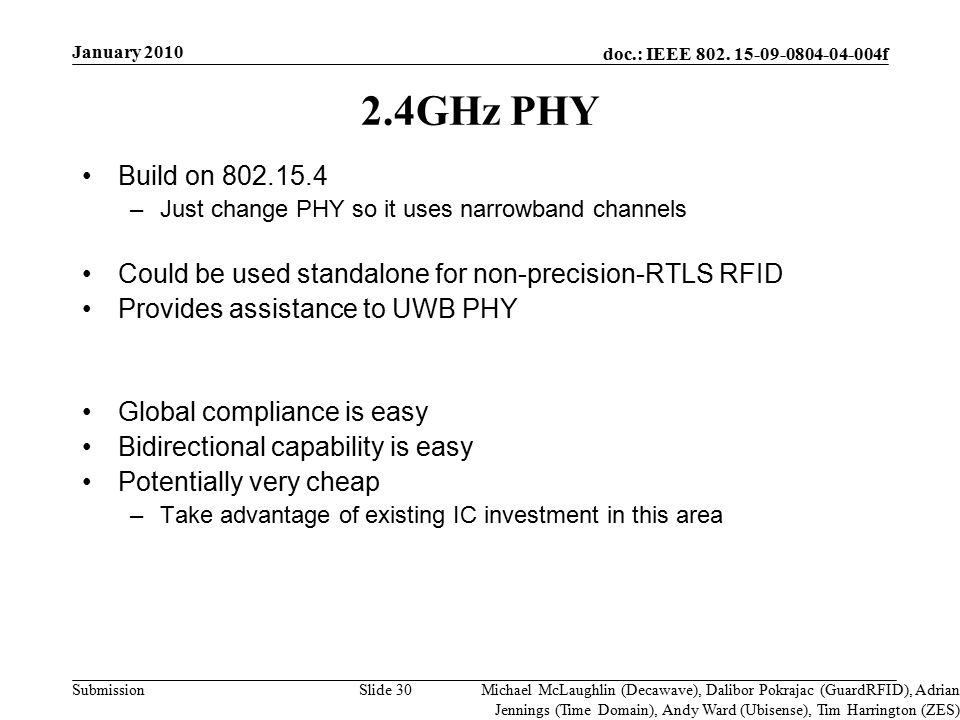 doc.: IEEE 802. 15-09-0804-04-004f Submission Slide 30 2.4GHz PHY Build on 802.15.4 –Just change PHY so it uses narrowband channels Could be used stan