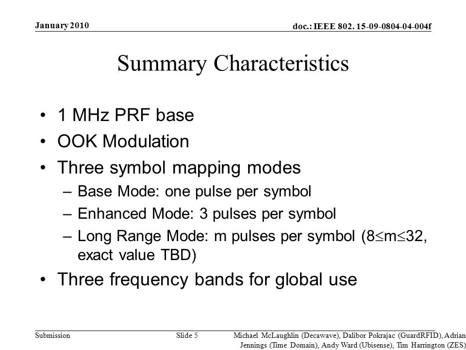 doc.: IEEE 802. 15-09-0804-04-004f Submission Summary Characteristics 1 MHz PRF base OOK Modulation Three symbol mapping modes –Base Mode: one pulse p
