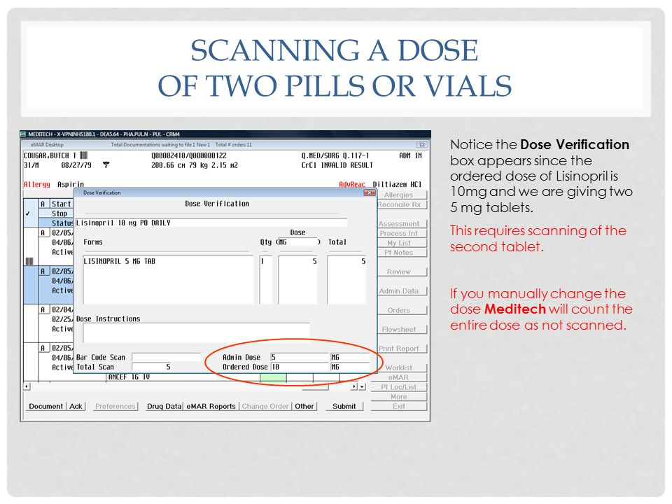SCANNING A DOSE OF TWO PILLS OR VIALS Both medications that are due at 0900 now have barcodes in front of the row signifying that both were scanned properly.