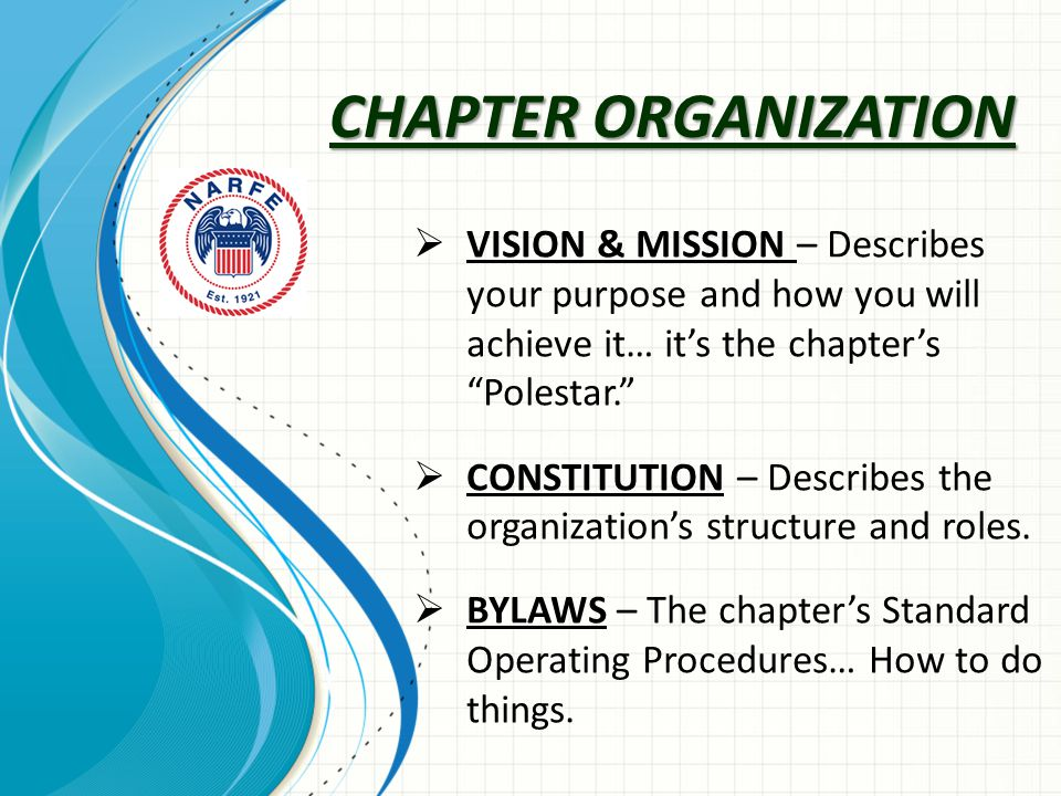 CHAPTER ORGANIZATION  VISION & MISSION – Describes your purpose and how you will achieve it… it's the chapter's Polestar.  CONSTITUTION – Describes the organization's structure and roles.