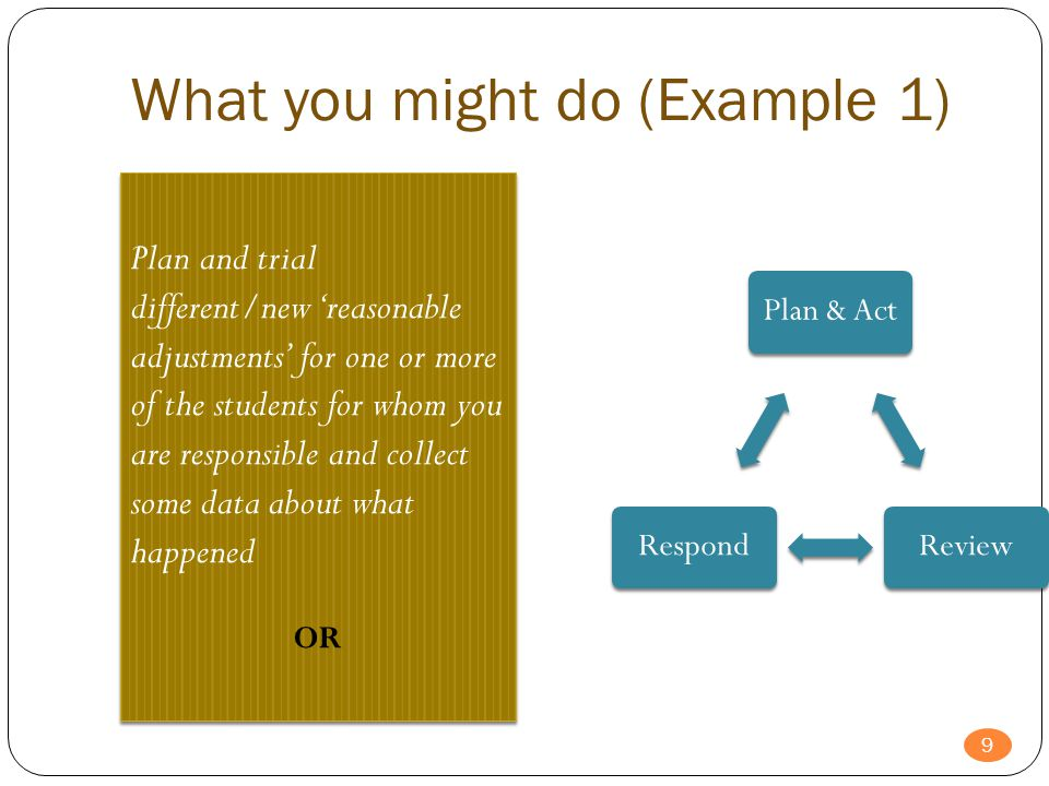What you might do (Example 1) Plan and trial different/new 'reasonable adjustments' for one or more of the students for whom you are responsible and c