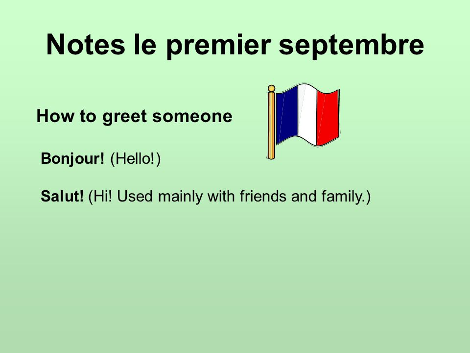 Titles in French Monsieur (abbreviated M.) = Mr.Madame (abbreviated Mme.) = Mrs.