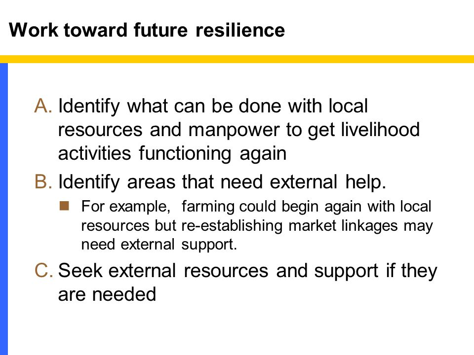 Work toward future resilience A.Identify what can be done with local resources and manpower to get livelihood activities functioning again B.Identify areas that need external help.