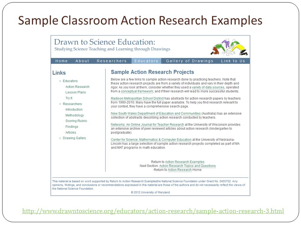 Sample Classroom Action Research Examples http://www.drawntoscience.org/educators/action-research/sample-action-research-3.html