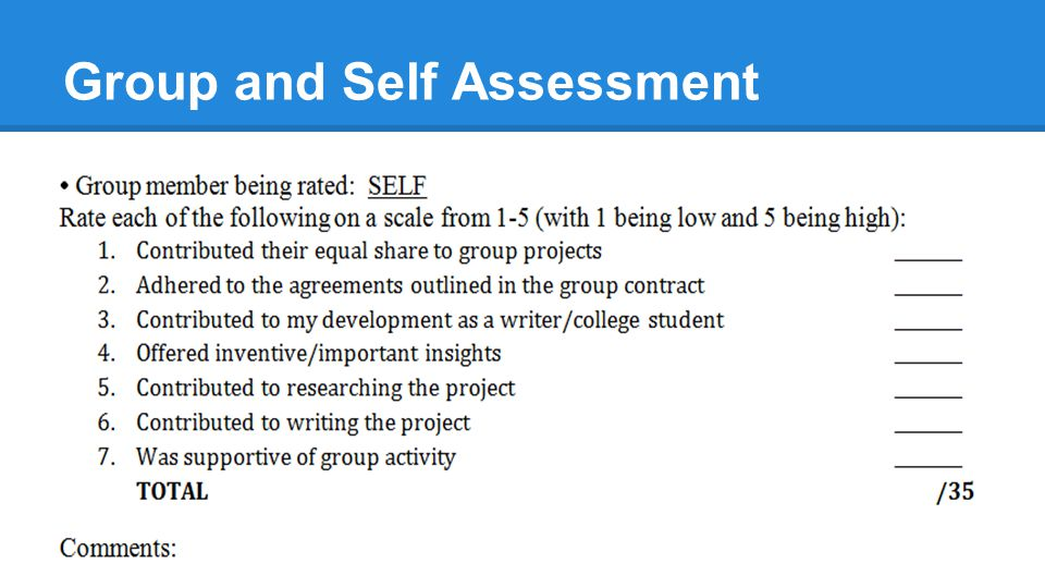Group and Self Assessment