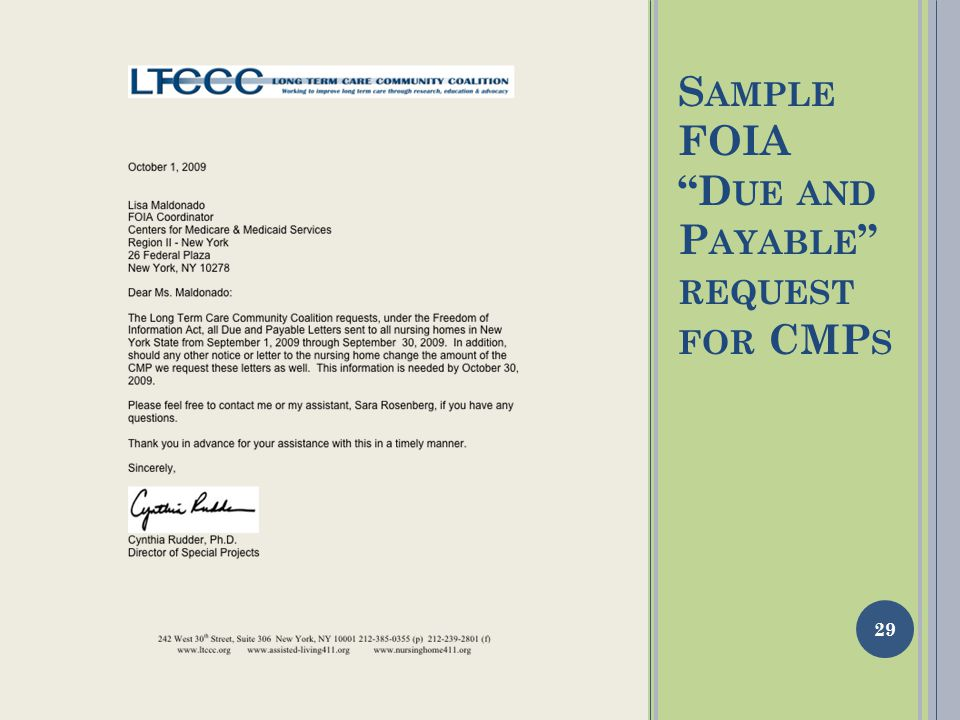 S AMPLE FOIA D UE AND P AYABLE REQUEST FOR CMP S 29