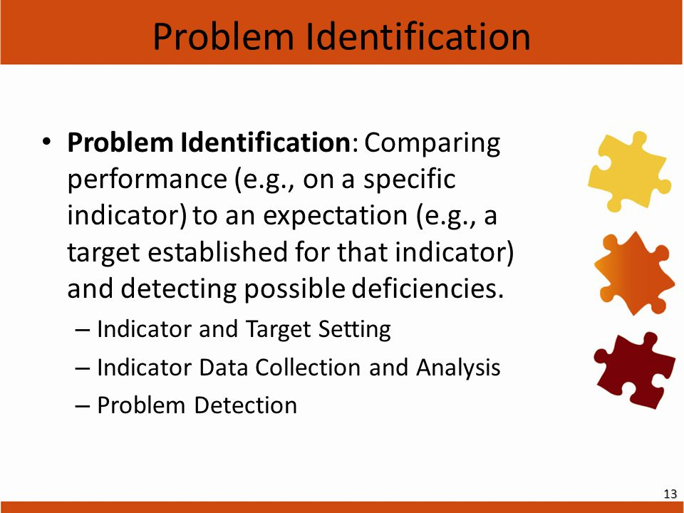 Problem Identification Problem Identification: Comparing performance (e.g., on a specific indicator) to an expectation (e.g., a target established for