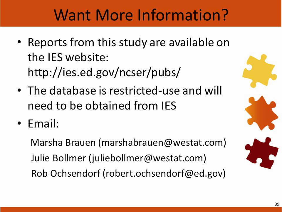 Reports from this study are available on the IES website: http://ies.ed.gov/ncser/pubs/ The database is restricted-use and will need to be obtained fr