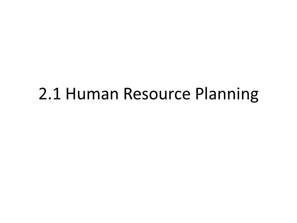 2.1 Human Resource Planning