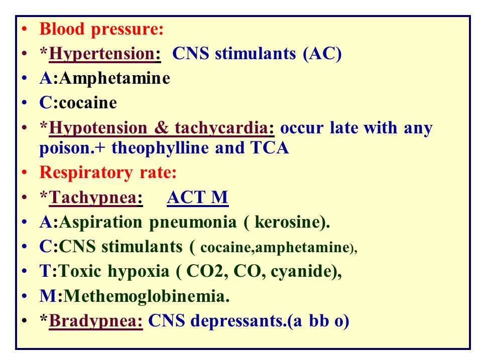 Blood pressure: *Hypertension: CNS stimulants (AC) A:Amphetamine C:cocaine *Hypotension & tachycardia: occur late with any poison.+ theophylline and T