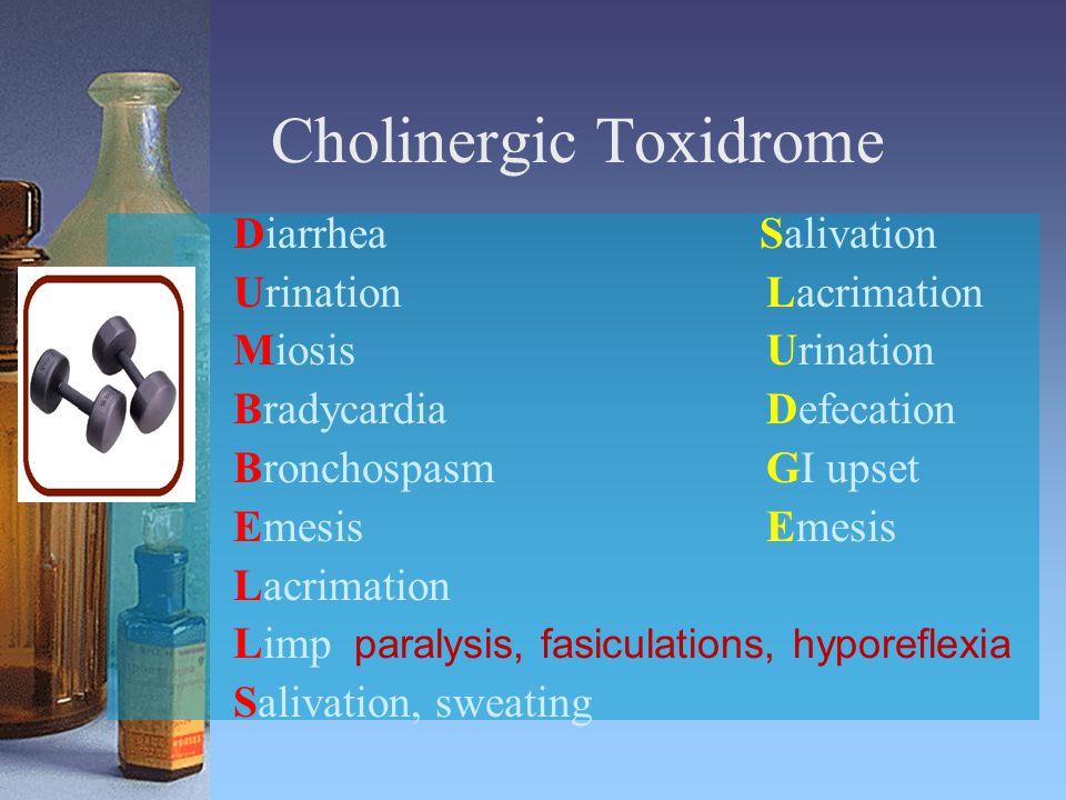 Cholinergic Toxidrome Diarrhea Salivation UrinationLacrimation MiosisUrination BradycardiaDefecation BronchospasmGI upset EmesisEmesis Lacrimation Limp paralysis, fasiculations, hyporeflexia Salivation, sweating