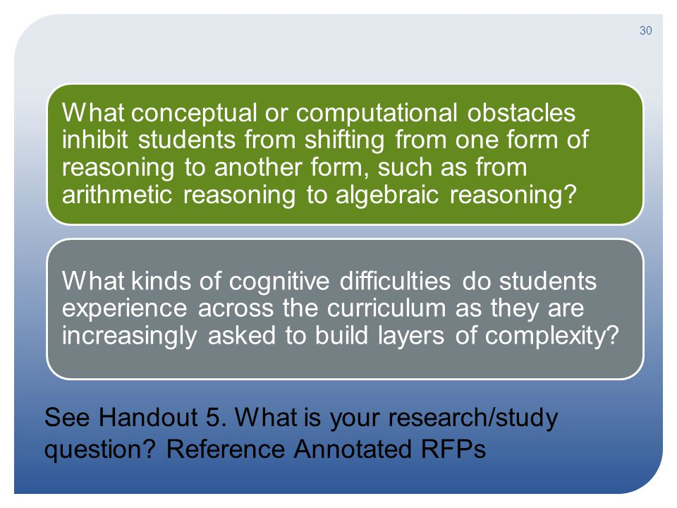 What conceptual or computational obstacles inhibit students from shifting from one form of reasoning to another form, such as from arithmetic reasoning to algebraic reasoning.