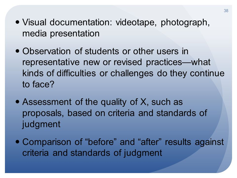 Visual documentation: videotape, photograph, media presentation Observation of students or other users in representative new or revised practices—what kinds of difficulties or challenges do they continue to face.