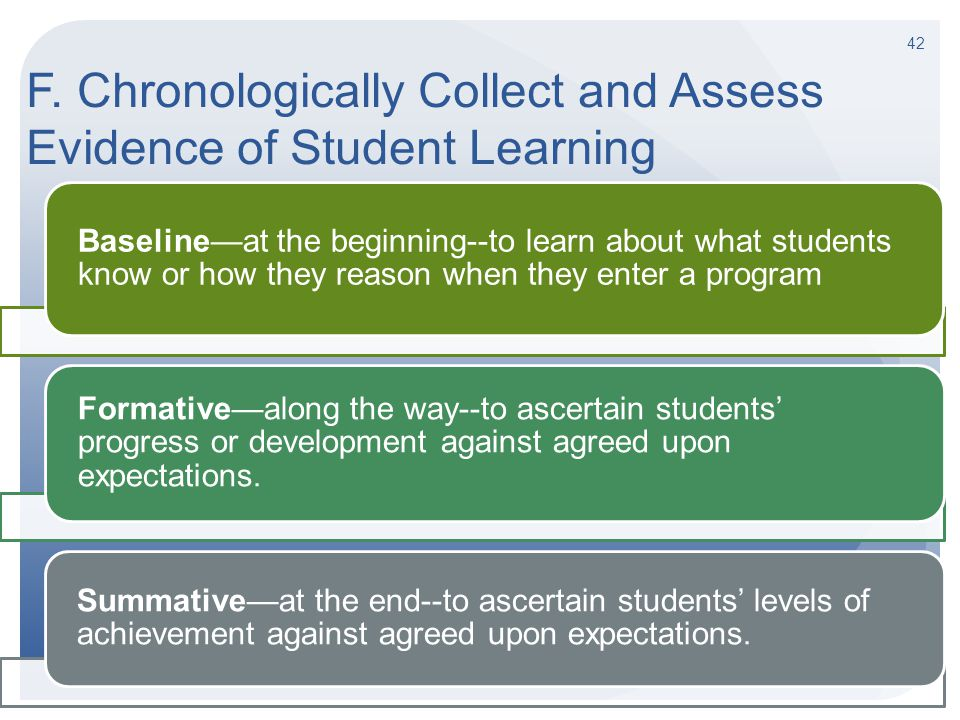 F. Chronologically Collect and Assess Evidence of Student Learning Baseline—at the beginning--to learn about what students know or how they reason whe