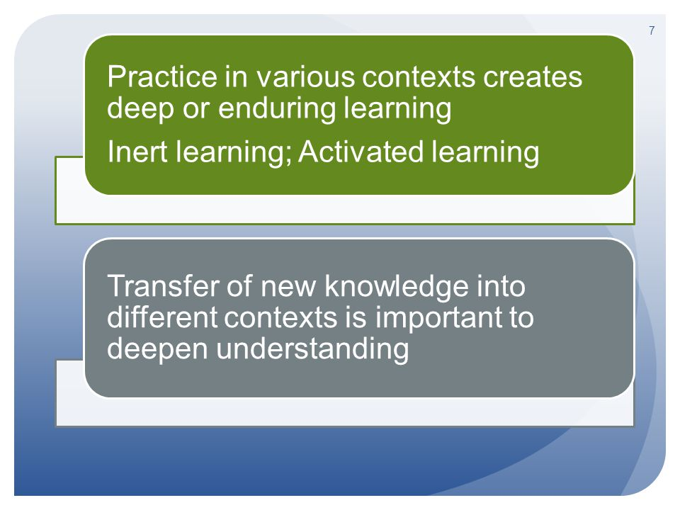 7 Practice in various contexts creates deep or enduring learning Inert learning; Activated learning Transfer of new knowledge into different contexts