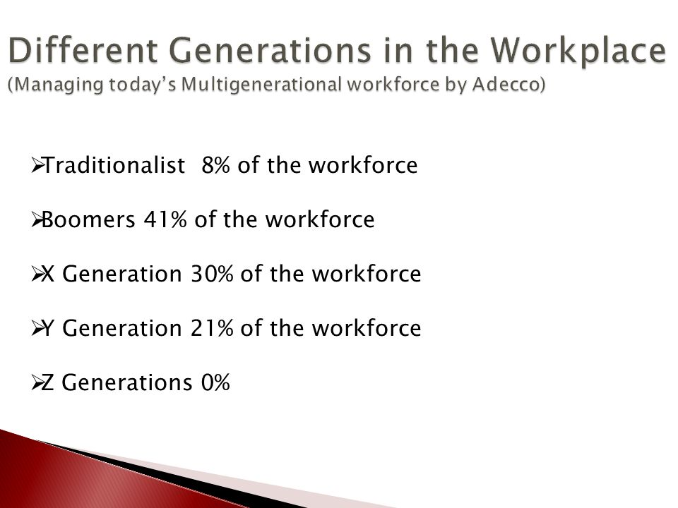  Traditionalist 8% of the workforce  Boomers 41% of the workforce  X Generation 30% of the workforce  Y Generation 21% of the workforce  Z Generations 0%