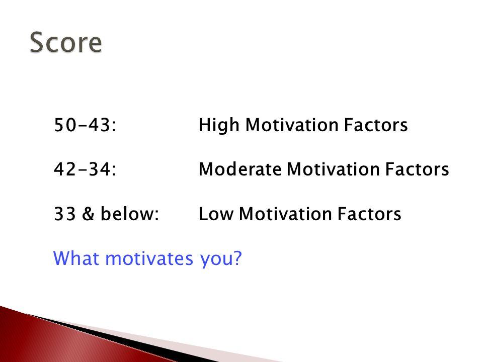 50-43: High Motivation Factors 42-34: Moderate Motivation Factors 33 & below: Low Motivation Factors What motivates you
