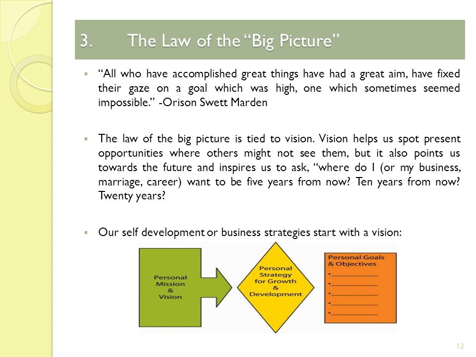 3.The Law of the Big Picture  All who have accomplished great things have had a great aim, have fixed their gaze on a goal which was high, one which sometimes seemed impossible. -Orison Swett Marden  The law of the big picture is tied to vision.