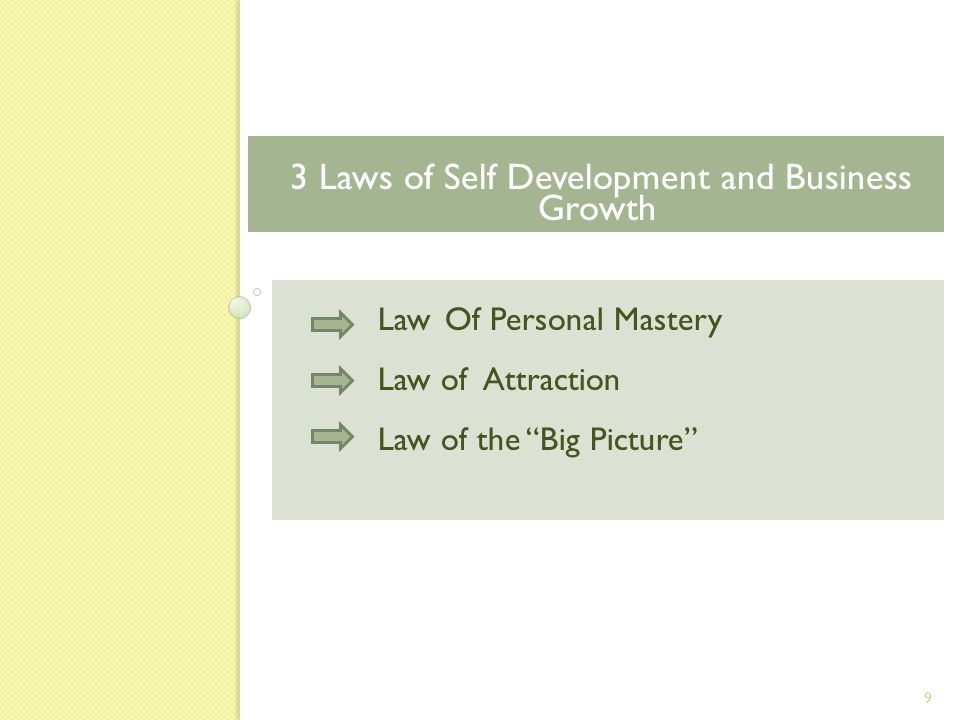 Law Of Personal Mastery Law of Attraction Law of the Big Picture 3 Laws of Self Development and Business Growth 9