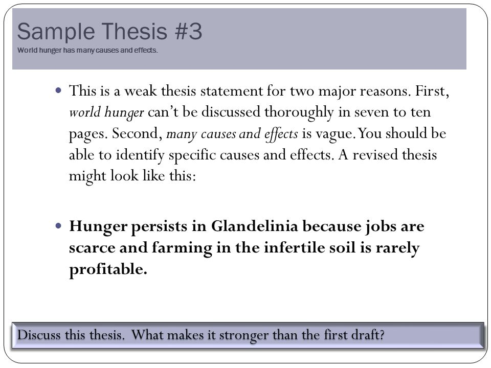 Sample Thesis #3 World hunger has many causes and effects.