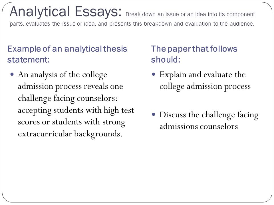 Analytical Essays: Break down an issue or an idea into its component parts, evaluates the issue or idea, and presents this breakdown and evaluation to the audience.