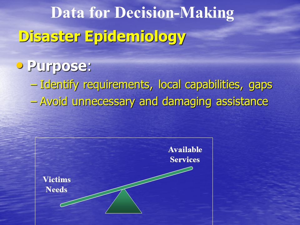 Disaster Epidemiology Purpose: Purpose: –Identify requirements, local capabilities, gaps –Avoid unnecessary and damaging assistance Victims Needs Available Services Data for Decision-Making