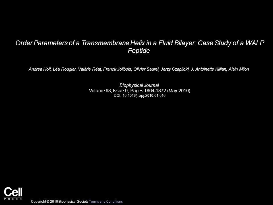 Order Parameters of a Transmembrane Helix in a Fluid Bilayer: Case Study of a WALP Peptide Andrea Holt, Léa Rougier, Valérie Réat, Franck Jolibois, Olivier Saurel, Jerzy Czaplicki, J.