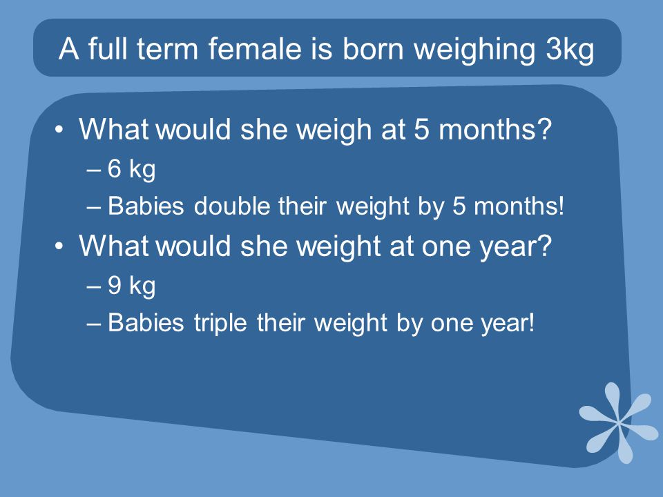 What would she weigh at 5 months. –6 kg –Babies double their weight by 5 months.