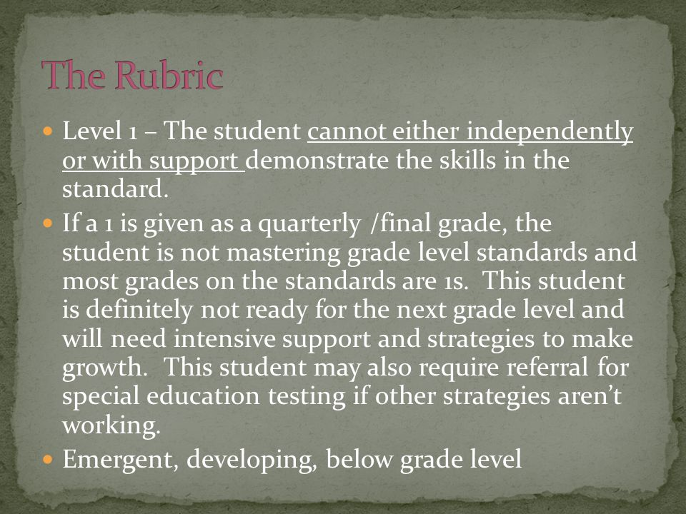 Level 1 – The student cannot either independently or with support demonstrate the skills in the standard. If a 1 is given as a quarterly /final grade,